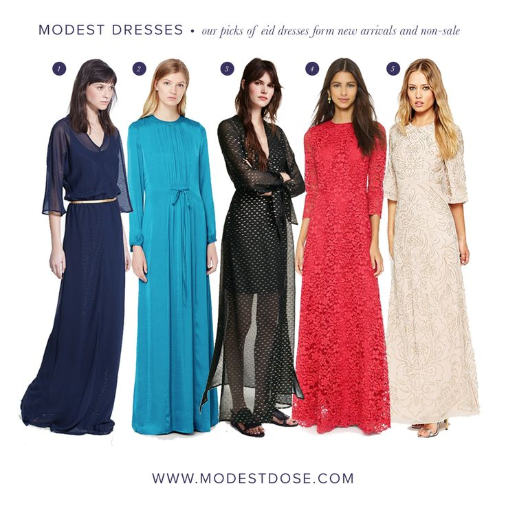 Our pick of modest dresses for eid from high street stores. Items are non-sale and new arrivals. 1&2.@mango 3.@h&m 4.@shopbop 5.@asos