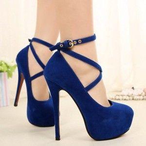 Tacones azul rey de moda 5