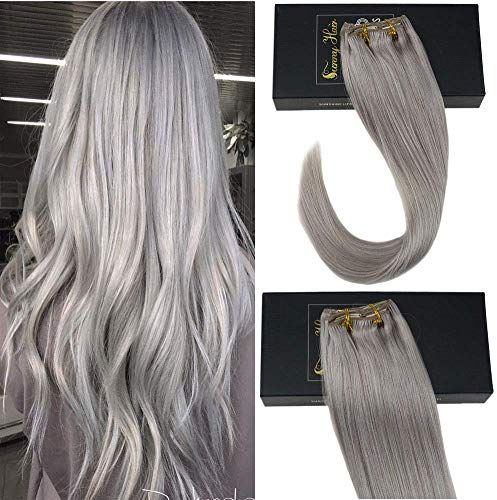 New Sunny 24inch Remy Grey Clip Human Hair Extensions Double Weft Color Solid Grey Full Head Human Extensions Clip ins Thick End 7PCS 120G online
