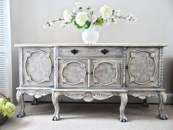 Antique ornate chippendale french country cottage chic for Sideboard shabby chic
