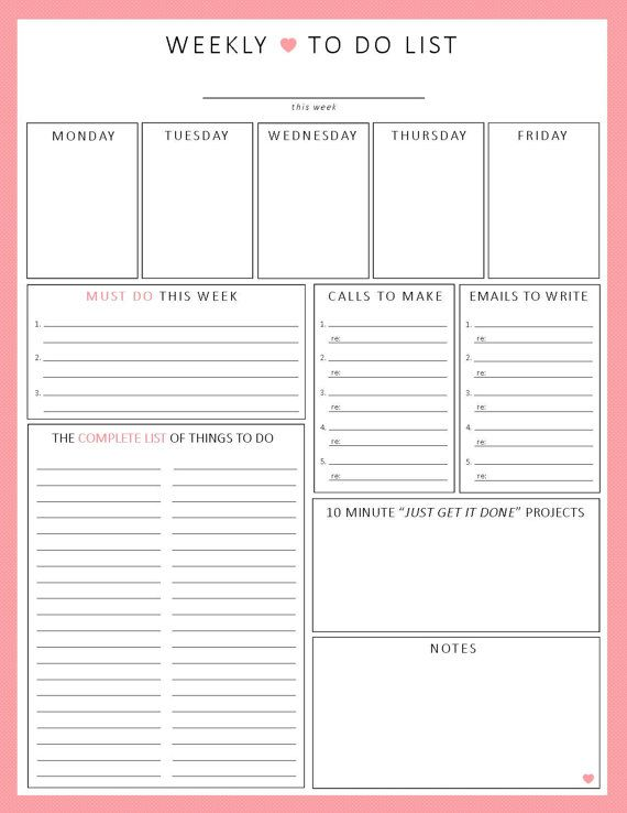 WEEKLY To Do List 1-sheet PRINTable Organization