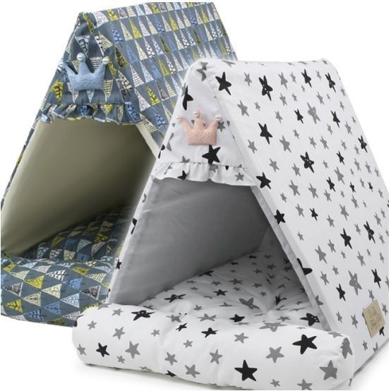 Scandinavian Style Triangle Premium Oxford Fabric n Cushion Pet Dog Cat House #Maltiku