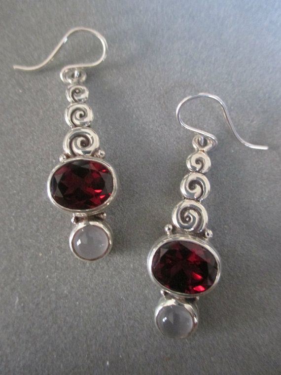 Sterling Silver Garnet & Moonstone Earrings by RichelleJewelry