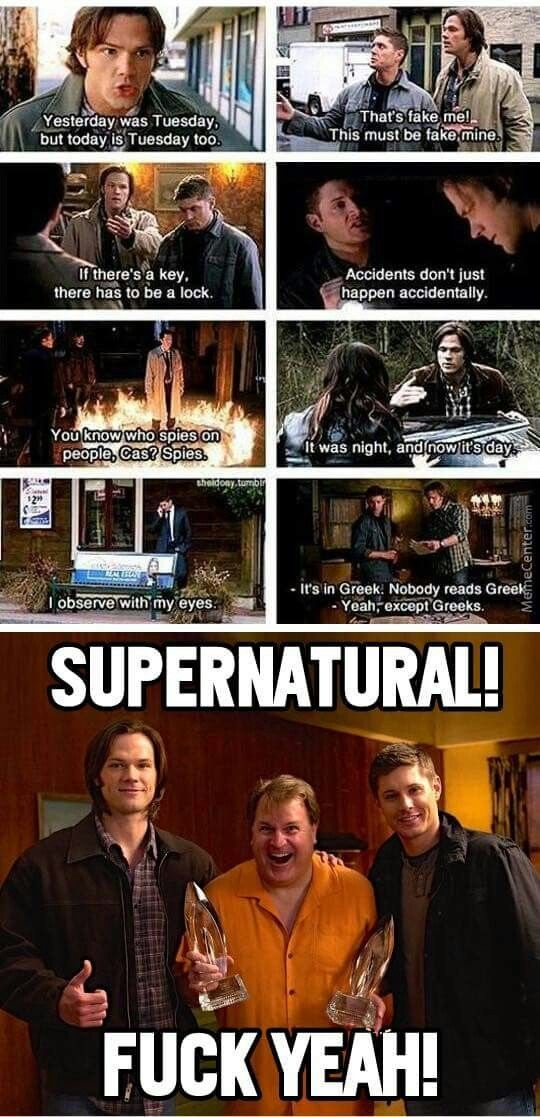 Supernatural funny meme. The writers at their best.