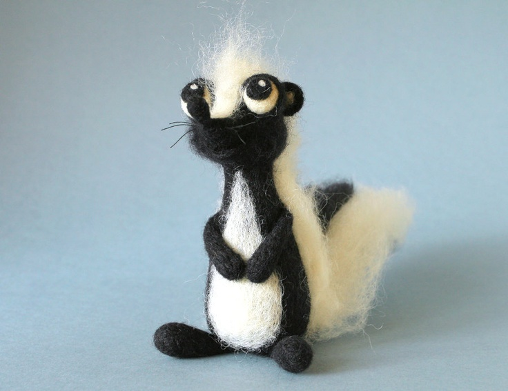 Bailey the Skunk / needle felted art toy. $45.00, via Etsy.