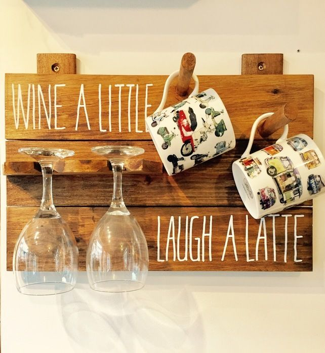 Wine a little Laugh a Latte board Mugs and Glasses  £22.50