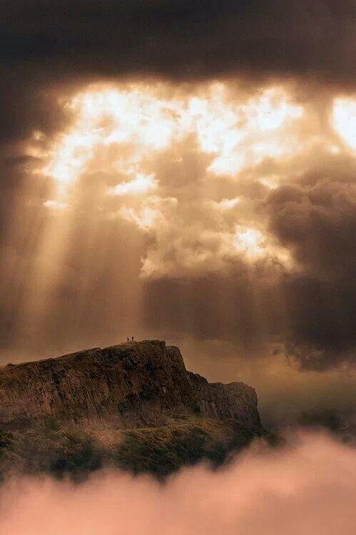 Clouds, Fog and Sun Rays over Arthur's Seat ~ Edinburgh, Scotland