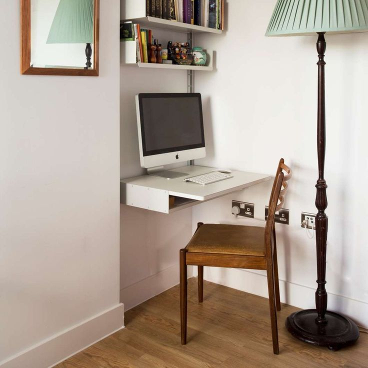 A tight alcove becomes a workspace with the easy addition of a desk shelf. Add components at any time