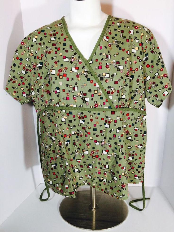 Cottonality Nursing Medical Uniform Scrub Top Geo/Floral Print Large (V2)  | eBay