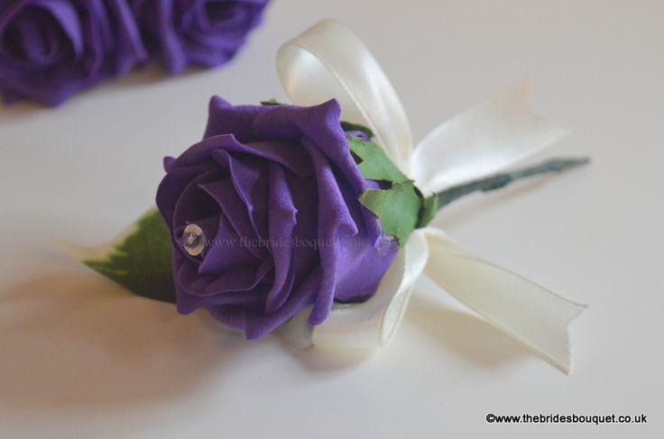 Cadburys purple rose wedding guest corsage. Purple wedding just £1.50
