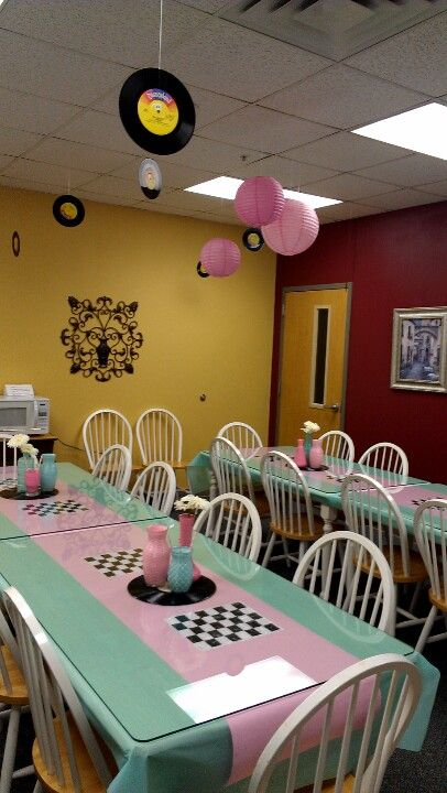 50's theme sock hop pink blue luncheon decor