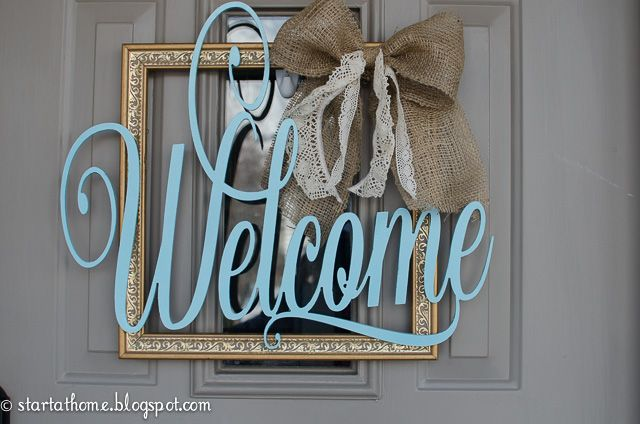 I have been wanting a welcome sign on my front door but I didn't want it to cover my window all the way. Perfect solution. I can still see out my window and I have a welcome sign!  This welcome sign was super easy to make. You will need: A frame, I found mine at a thrift store and I believe it was only $2 Welcome Lettering, You can buy it in my Etsy store here Spray paint Burlap and Lace Hot glue gun  Once you have all your supplies I used spray paint to spray my welcome sign. I have…
