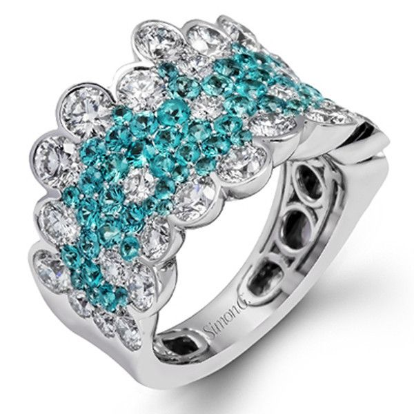 Simon G. 18K White Gold Blue Paraiba Tourmaline and Diamond Cluster Ring Featuring a 1.43 Carats Round Cut Blue Paraiba Tourmalines Encrusted with 2.96 Carats of Round Cut White Diamonds. Style LP2269