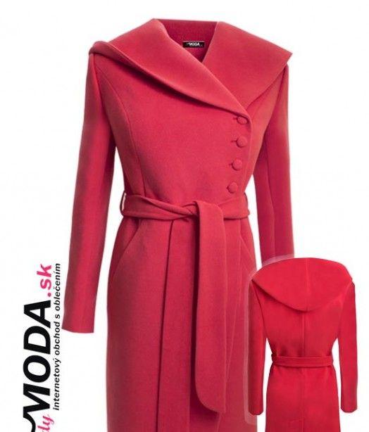 Nádherný červeno-oranžový zimný dámsky kabát v dĺžke po kolená. - trendymoda.sk