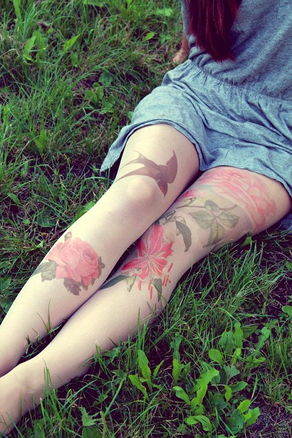 Retro Flovers and Swallow Tattoo Tights by KellyAtLarge