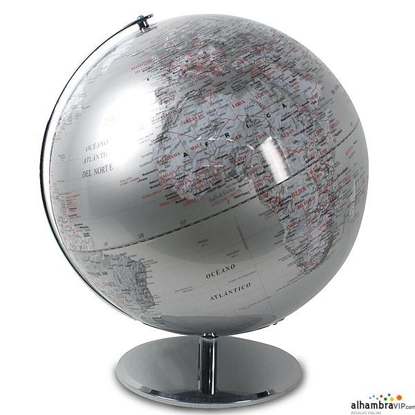 Bola del mundo plateada decoraci n alhambravip - Bola del mundo decoracion ...