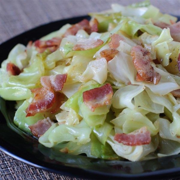 """Fried Irish Cabbage with Bacon   """"Cabbage fried in bacon grease with bacon. YUM!"""" #recipe #stpatricksday #entertaining"""