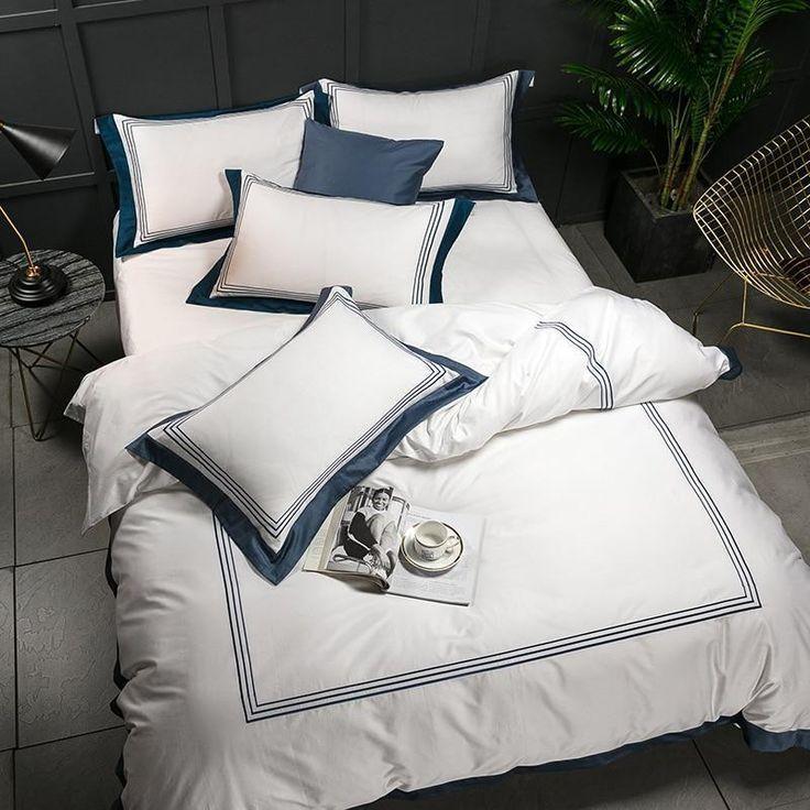 5 Star Hotel Luxury White 100 Egyptian Cotton Bedding Sets 4 Pcs