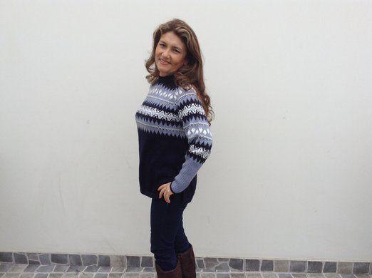 Blauer Damen Rundhals #Pullover Strickpullover #Norweger Stil #Alpakawolle