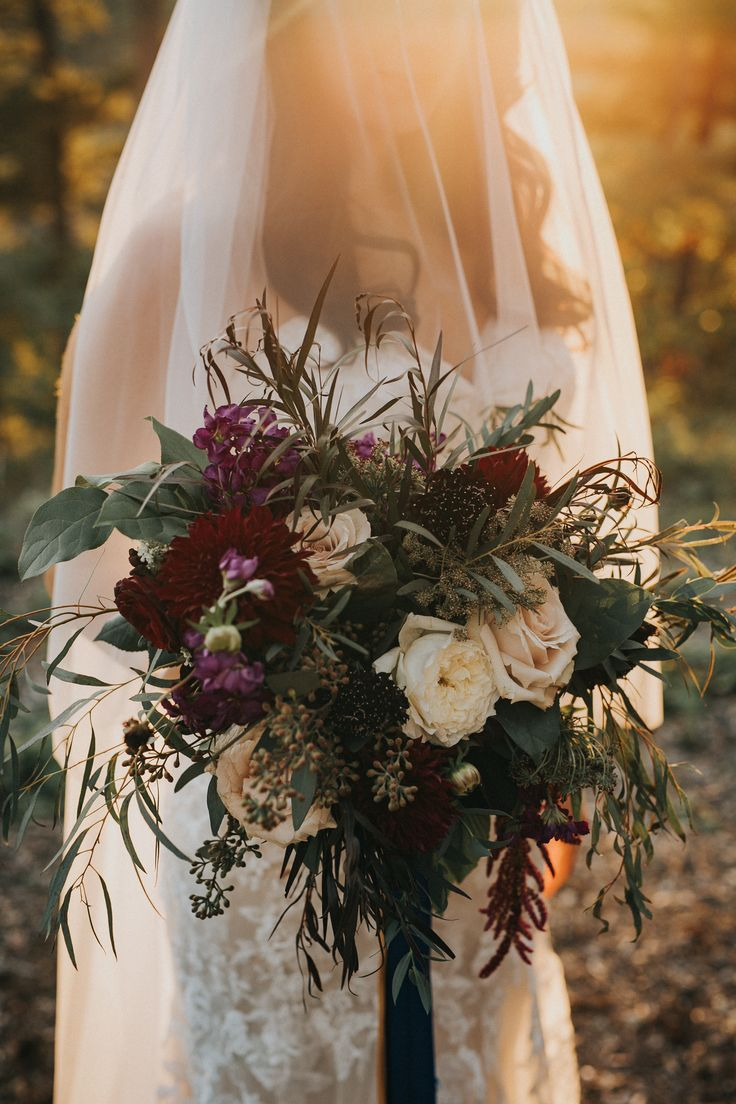 Burgundy autumn bridal bouquet; PHOTOGRAPHY Joel + Justyna Bedford;