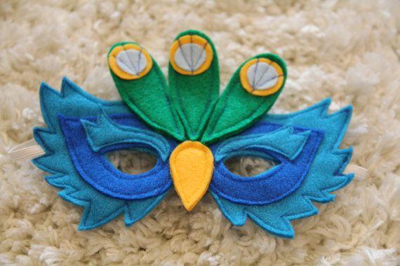 Handmade Peacock Mask Children Dress Up by Leahsdressupshop, $25.00