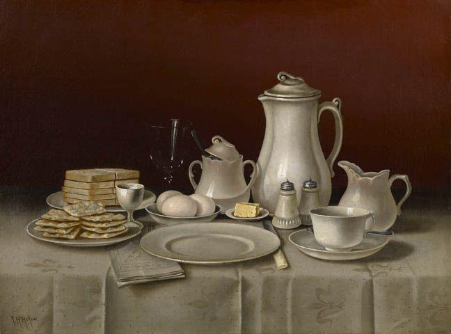 Thomas Hope (1832-1926) —  Still Life with Breakfast Setting, 1880s-90s. (648x480)