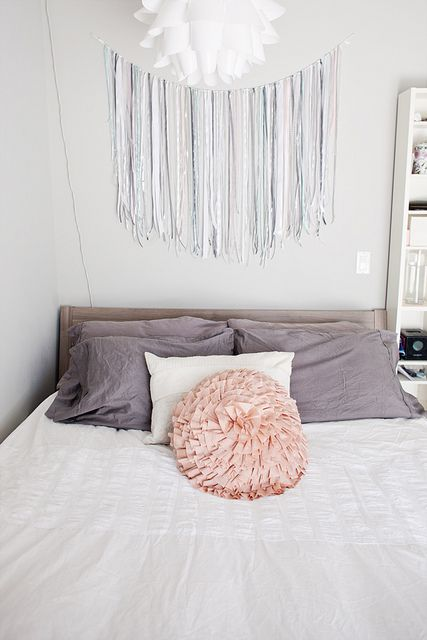 new bed by Lizz K, via Flickr, via Saucydwellings, Awesome bedroom, light and airy, gray, pastel, ribbon decor, ikea bed!