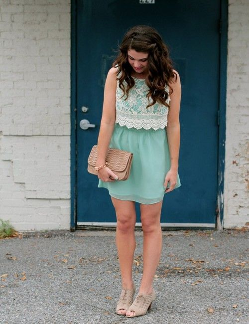 turquoise + lace dress