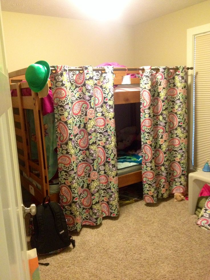 Kids Bunk Bed Fort Curtain Rod And Two Curtains Fun
