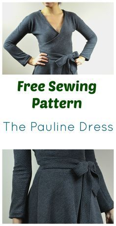 Free Sewing PAttern:  The pauline Dress:  it features a long sleeve wrap dress with a midi length skirt and a beautiful waistband.  The pattern includes plus sizes as well!