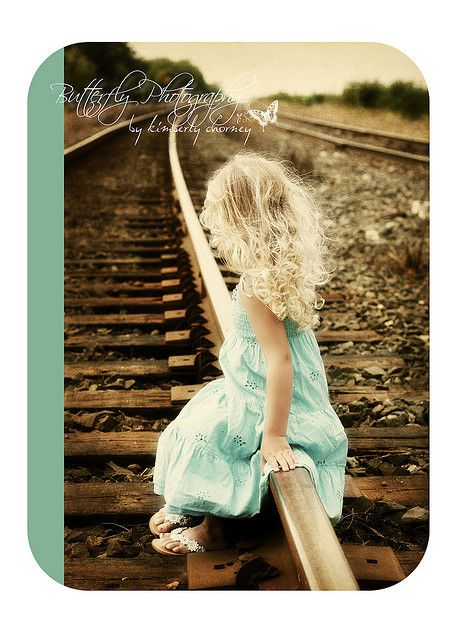 Little Girl on Train Tracks (Butterfly Photography)