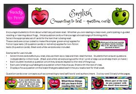 Connecting to text - question cards (version 1)  Awesome to have on hand and to use after reading text to your students.