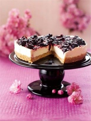 Black cherry cheesecake (no bake) 125 gram(s) digestive biscuits 75 gram(s) butter (soft) 300 gram(s) cream cheese 60 gram(s) icing sugar 1 teaspoon(s) vanilla extract ½ teaspoon(s) lemon juice 250 ml double cream 284 gram(s) black cherry spread (e.g., jar of st dalfour rhapsodie de fruit)