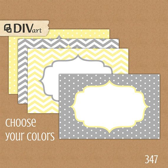 "PRINTABLE 3.5x2.25"" Place Cards, Escort Cards, Food Labels, Gift Tags - chevron, polka dots - gray, grey, yellow or custom color - 347"