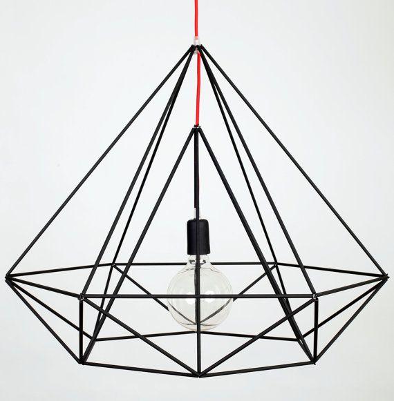Himmeli Light Diamond Pendant Cage Geometric Black Matte Original Himmeli Art Panselinos