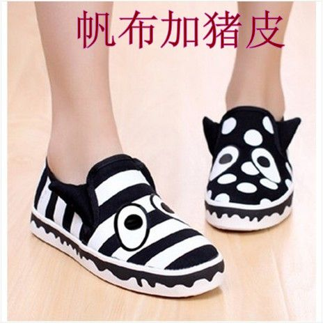 2014 genuine leather breathable big eyes driving shoes,casual canvas shoes,lazy flat single female shoes,free shipping $2353,63
