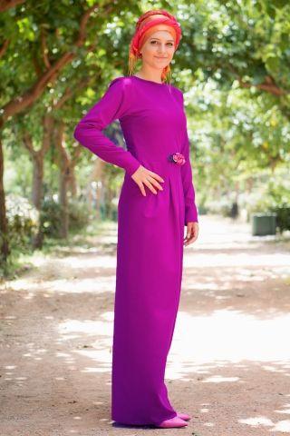 Aynil Moda Çiçekli Elbise Mor