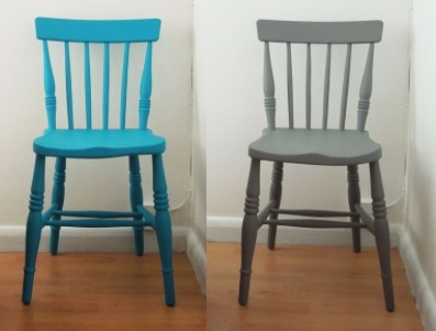 Painted wooden chairs  i want to make a wooden kitchen table and then get old wooden mismatched chairs and paint each a different bold colour to go round it
