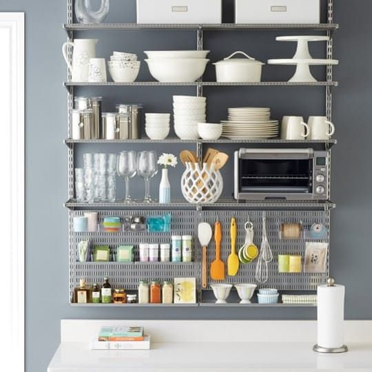 Platinum elfa utility Kitchen Shelving from The Container Store