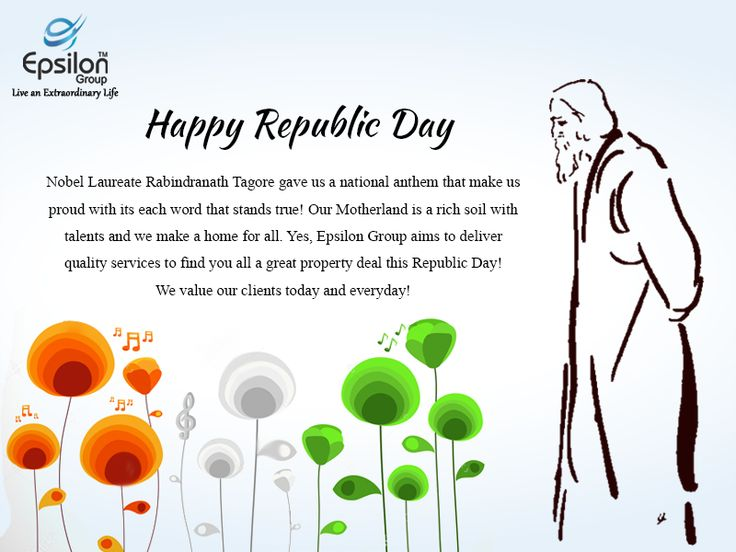 Happy Republic day from Epsilon Group  Nobel Laureate Rabindranath Tagore gave us a national anthem that makes us proud with its each word that stands true! Our Motherland is a rich soil with talents and we make a home for all. Yes, Epsilon Group aims to deliver quality services to find you all a great property deal this Republic Day! We value our clients today and everyday!  #HappyRepublicday #DholeraSmartCity   #Dhoeraepsiloninfra   #smartcityinindia   #DholeraSIR