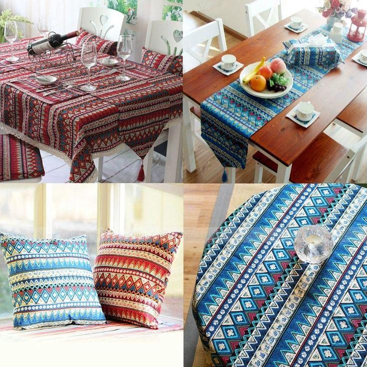 Bohemian Mediterranean Style Boho Chic Tablecloth Table Runner Throw Pillowcase in Home, Furniture & DIY, Cookware, Dining & Bar, Tableware, Serving & Linen | eBay