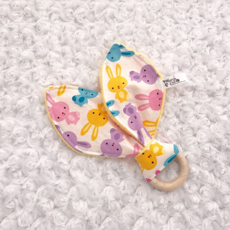 Easter bunny ear teether, teething toy wooden ring