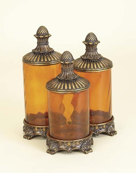 Amber Glass Canisters, Victoria Rose Cottage