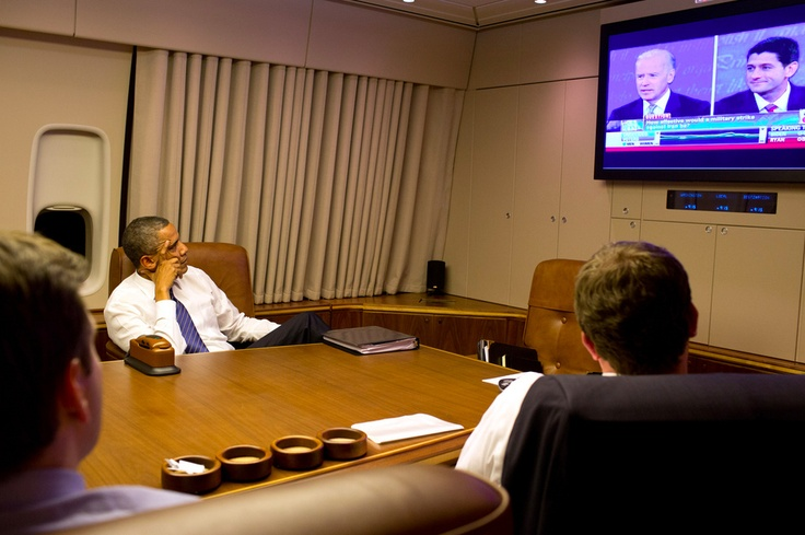 Romney And Obama Watch The Vice Presidential Debates