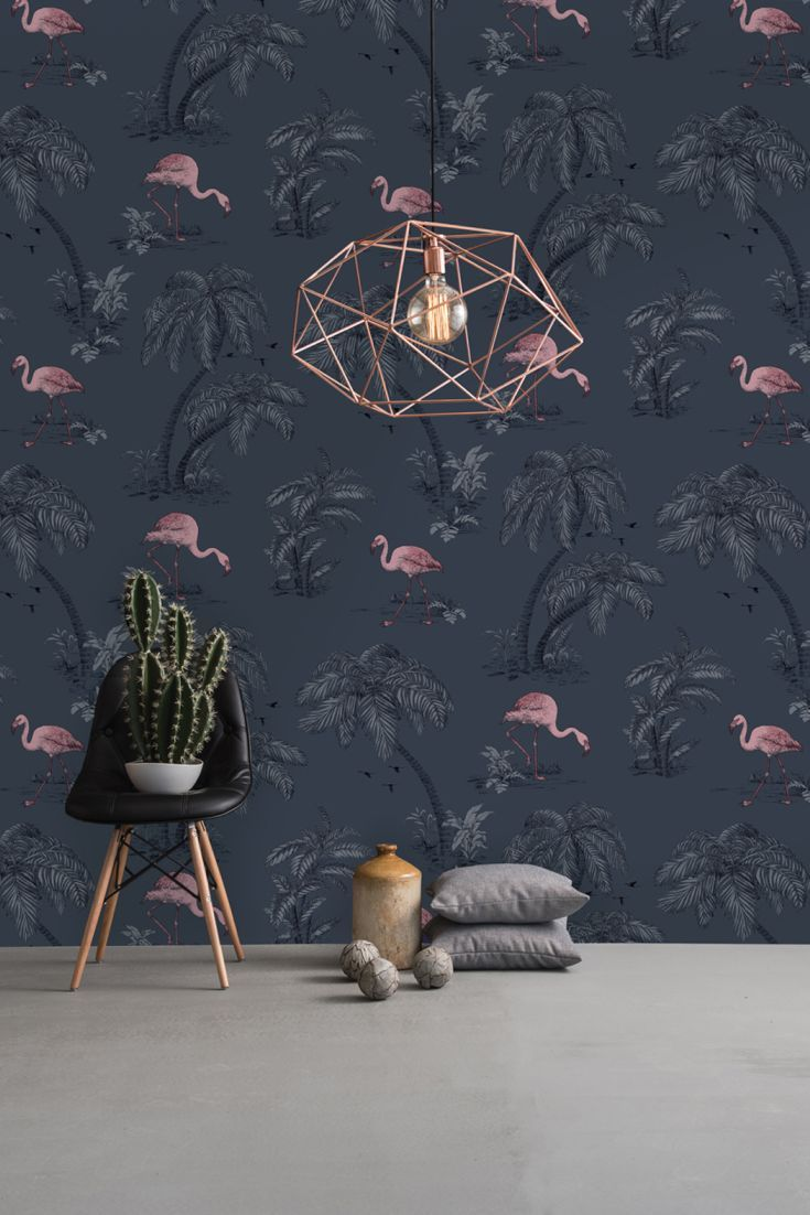 OMG I love, love, LOVE this!! Flamingo Lake wallpaper design by Albany.