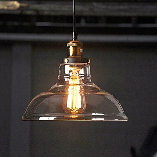 KivenR Vintage Industrial The Glass Bowl Of Edison Pendant Light Nordic Country Creative Dining Room