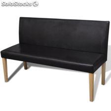 Sofá banco de cuero artificial color marrón oscuro