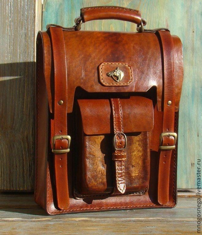 Купить Мужская сумка кожаная Мустанг. - коричневый, однотонный, Мужская кожаная сумка