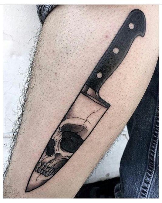 Knife tattoo - skull
