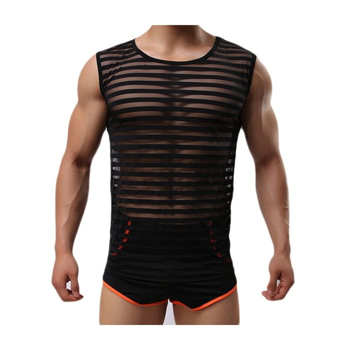 084308c7d786 US  15.41 - Mens Sexy Fitness Training Sleeveless Stripes Visible Printing  Cool Sport Tank Tops